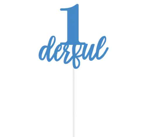 1derful Cake Topper - Blue